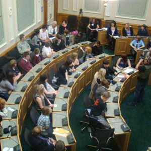 young people in the Kirklees Council chamber
