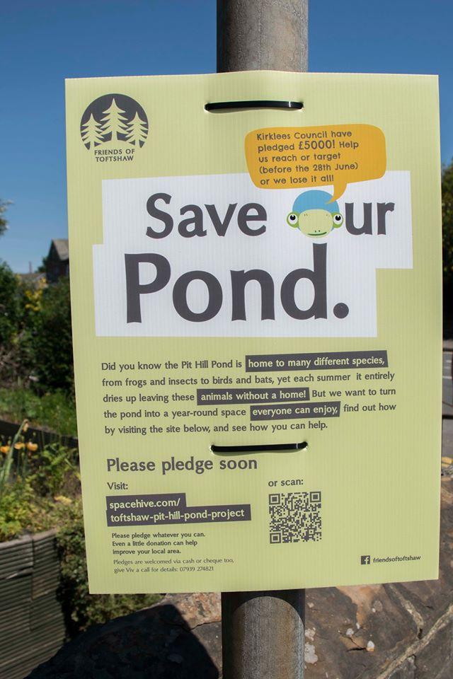 Save our pond poster on lamp post